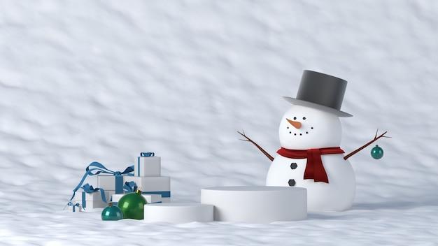 Weißes podium im winter mit weihnachtsdekorationen
