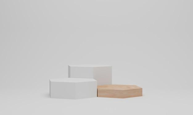 Weißes podium in sechseckform