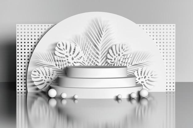 Weißes podium mit blumen und ball über spiegelboden