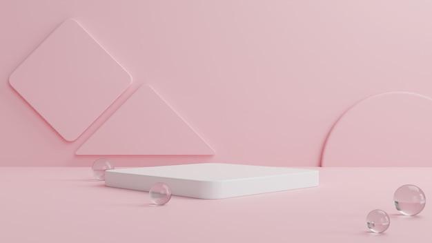 Weißes podium mit einer kristallkugel und einer rosa geometrischen form