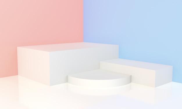 Weißes podium mit rosa und blauem hintergrund für anzeige