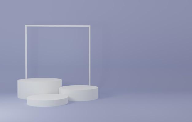 Weißes podium produktständer im lila raum, studio-szene für produkt, minimales design, 3d-rendering