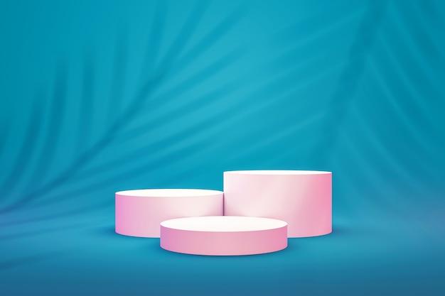 Weißes podiumregal oder leere sockelanzeige auf lebendigem aqua sommerhintergrund mit palmblattmuster. leerer ständer zum anzeigen des produkts. 3d-rendering.