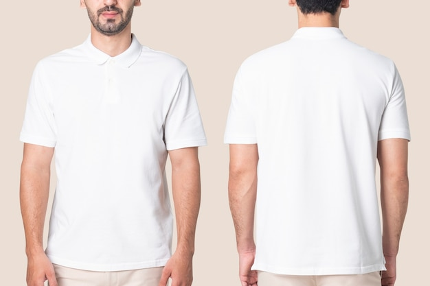Weißes poloshirt herren casual business wear rückansicht