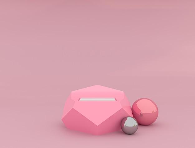 Weißes produktanzeige- oder schaufenstersockel auf rosa hintergrund des diagramms