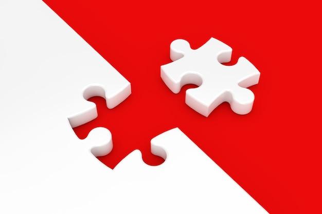 Weißes puzzleteil auf rotem hintergrund 3d-rendering