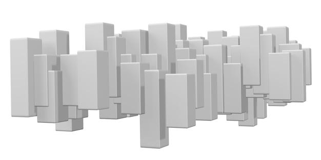 Weißes quadrat des 3d-illustrationswürfels geometrische idee des gradienten mit zufälligen feldern oder spalten