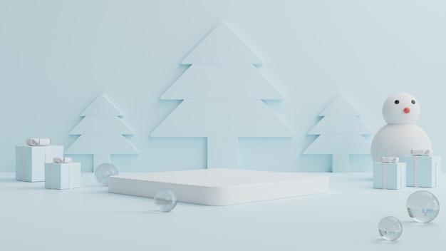 Weißes quadratisches podium mit kristallkugeln ringsum, einer geschenkbox und einem schneemann an der seite sowie einem blauen weihnachtsbaum