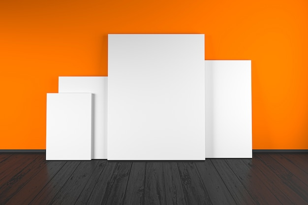 Weißes rahmenmodell. minimaler weißer rahmen auf holzboden. 3d-illustrationen.
