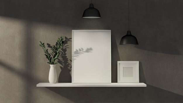 Weißes regal des loft-innenausstattungsdesigns auf loftwand mit modellbilderrahmen-pflanzenvase und -lampe