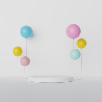 Weißes rundes display und bunte luftballons mit leerem raum.