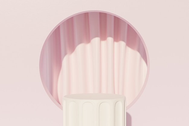 Weißes säulenpodest für werbung in der nähe von rosa vorhängen