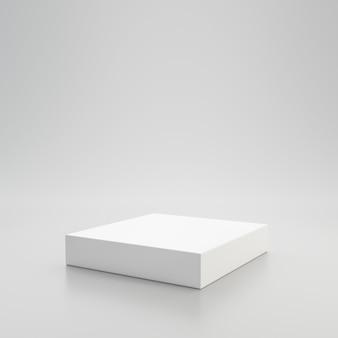 Weißes schaufensterpodest oder produktanzeige auf weißem hintergrund mit sockelständerkonzept. stehender hintergrund des leeren produktregals. 3d-rendering.