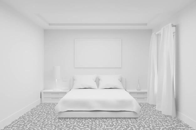 Weißes schlafzimmer mit vorhangfenster