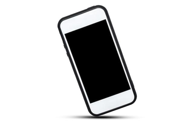 Weißes smartphone auf weißem hintergrund