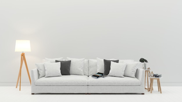 Weißes sofa des innenwohnzimmers skandinavische wandholzfußbodenhintergrund