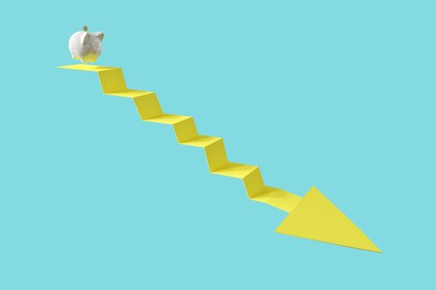 Weißes sparschwein mit münze springen auf pfeil unten. minimale idee geschäftskonzept. 3d-rendering.