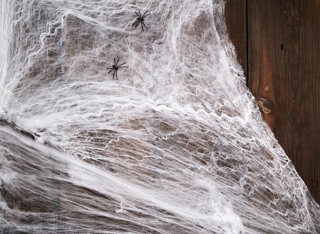 Weißes spinnennetz mit schwarzen spinnen auf einem hölzernen von den alten brettern