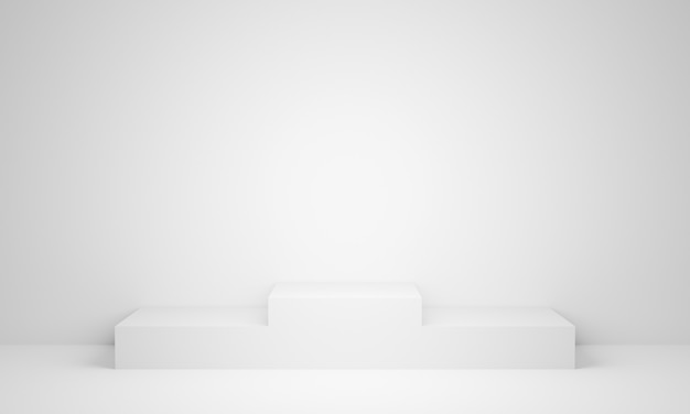 Weißes standpodest des 3d-renderings
