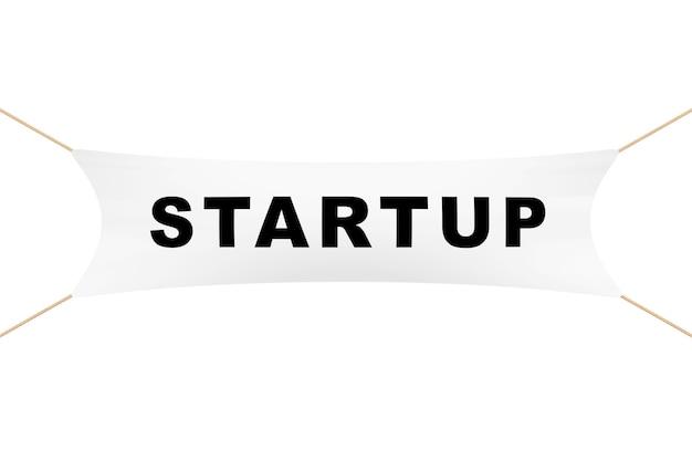 Weißes startup-banner mit seilen auf weißem hintergrund. 3d-rendering.
