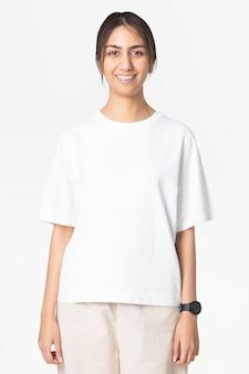 Weißes t-shirt mit design space damen freizeitbekleidung rückansicht