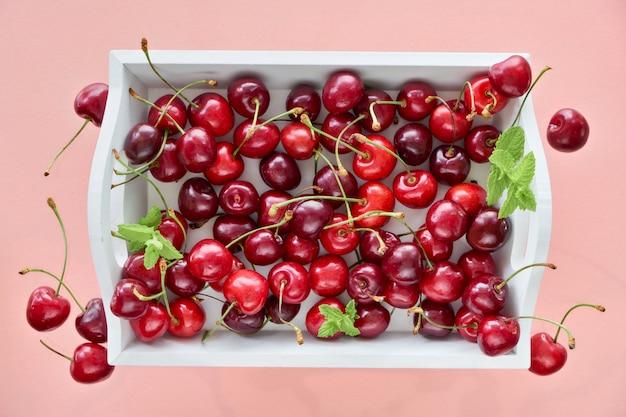 Weißes tablett mit asty cherry, flach auf hellrosa papier