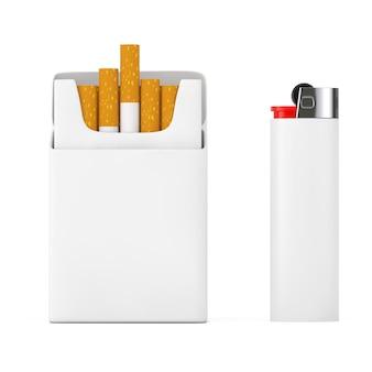 Weißes taschenfeuerzeug in der nähe von mockup blank cigarettes pack auf weißem hintergrund. 3d-rendering