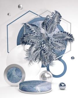 Weißes und blaues 3d-sockelpodest mit palmenblatt gegen weiße wand sommerartanzeigevitrine für schönheitskosmetikprodukte abstrakte vertikale illustration