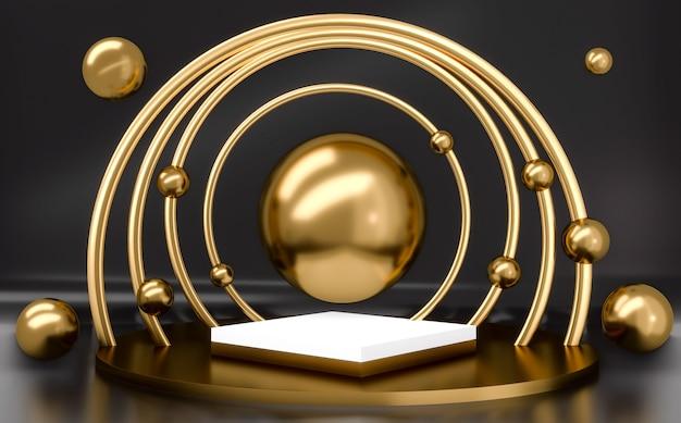Weißes und goldenes podium mit goldenen kugeln auf schwarzem hintergrund