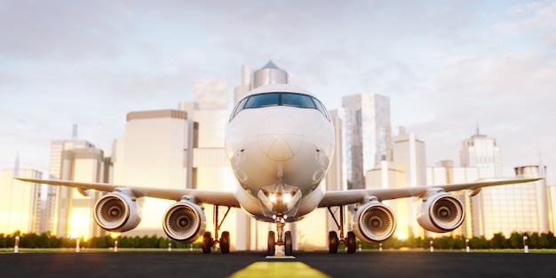 Weißes verkehrsflugzeug, das auf der landebahn des flughafens an wolkenkratzern einer stadt steht