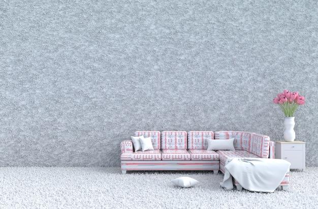 Weißes wohnzimmer am valentinstag & neujahr, gestreiftes rosa sofa, fliesen, tulpen. 3d rendern