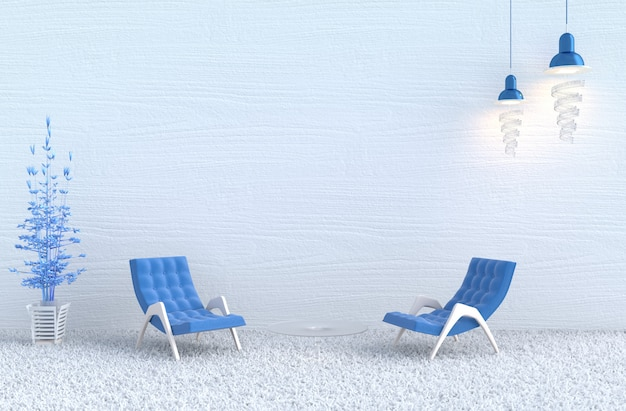 Weißes wohnzimmer, blauer sessel, weiße hölzerne wand, niederlassungsbaum, teppich. weihnachten, neues jahr.