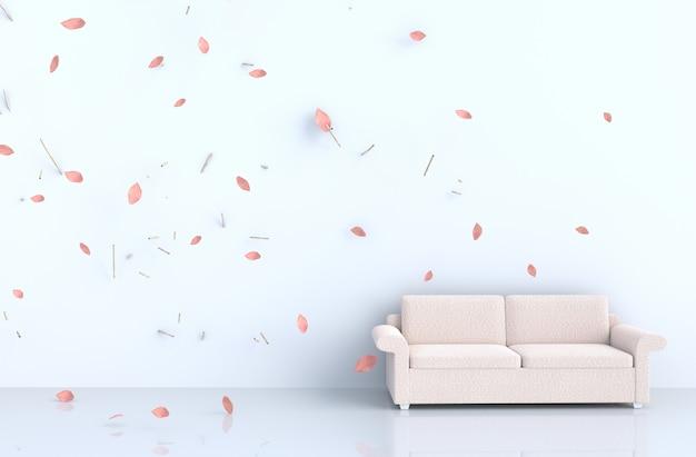Weißes wohnzimmer mit bilderrahmen, schlagrosablätter