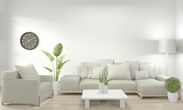 Weißes wohnzimmer mit weißem sofa und dekorationspflanzen auf boden