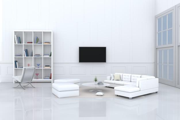 Weißes wohnzimmerdekor weißes sofa, kissen, bücherschrank, stuhl, fernsehen, fenster, sahnenteppich.