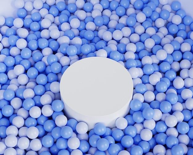 Weißes zylinderförmiges podium oder sockel für produkte auf pastellblauem hintergrund mit kugeln, minimaler 3d-illustrationsrender