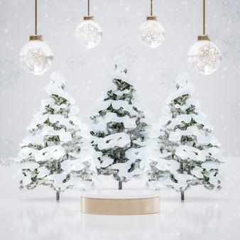 Weißgold-podium mit weihnachtsbaum und dekoration für die produktplatzierung des neuen jahres 3d-rendering