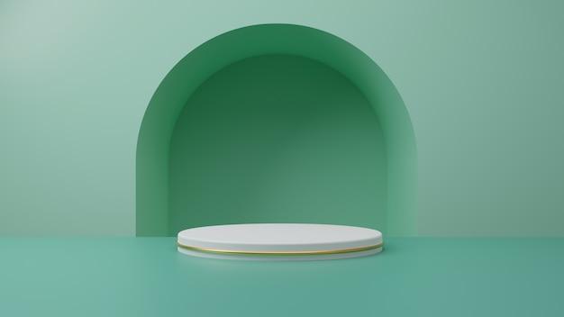 Weißgoldproduktständer auf mintgrünem pastellhintergrund. abstraktes minimalgeometriekonzept. studio podium plattform