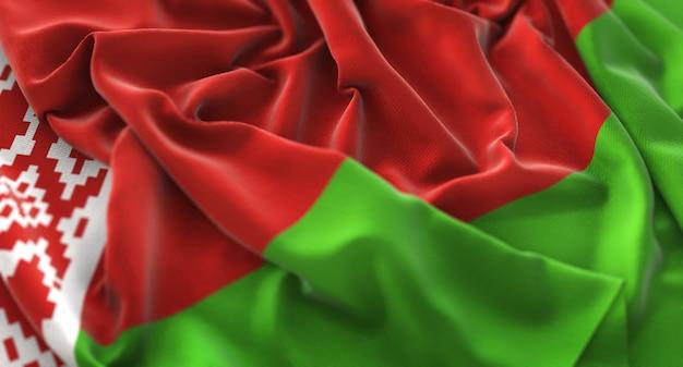 Weißrussland-flagge gekräuselt schön winken makro nahaufnahme schuss