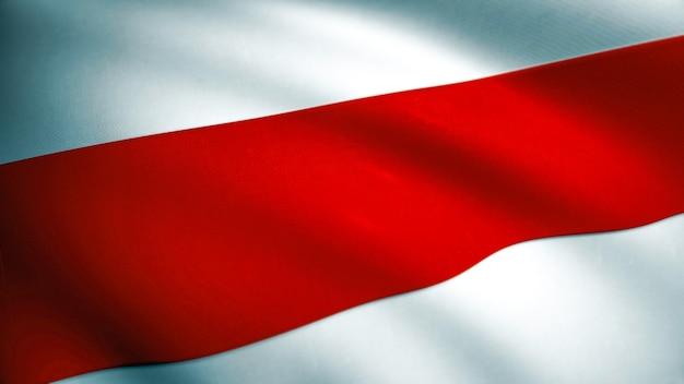Weißrussland rot weiß rot freiheitsflagge. winking fabric texture flag von belarus. pahonia-waffen, die 2020 von der belarussischen demokratischen opposition eingesetzt wurden. 3d-rendering.