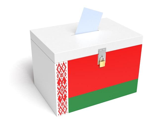 Weißrussland-wahlurne mit weißrussland-flagge auf weißem hintergrund