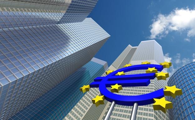 Weitwinkelansicht des 3d-rendering der europäischen zentralbank
