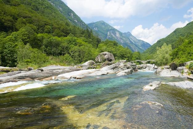 Weitwinkelansicht eines flusses, der durch die mit bäumen bedeckten berge fließt