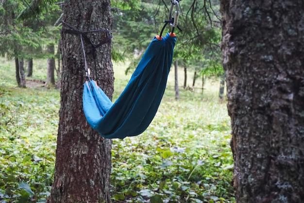Weitwinkelaufnahme einer hängematte zwischen zwei bäumen auf einem campingplatz an einem kühlen tag