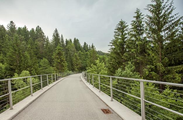Weitwinkelaufnahme eines alten eisenbahnweges auf der stadt mislinja in slowenien