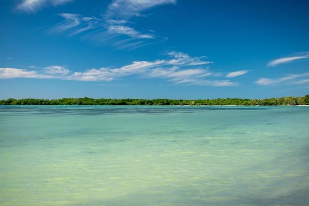 Weitwinkelaufnahme eines strandes unter einem klaren blauen himmel