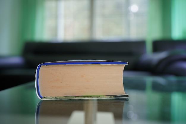 Weitwinkelobjektiv nahaufnahme von taschenbuch mit unschärfe wohnzimmer