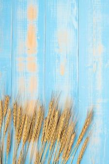 Weizenährenkorn auf blauem hölzernem hintergrund