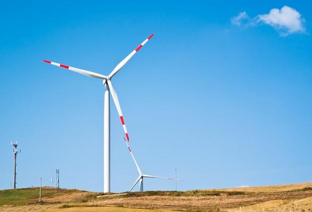 Weizenfeld mit windmühlen