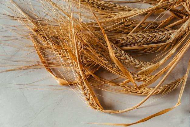 Weizenspitzen auf weißem marmorhintergrund
